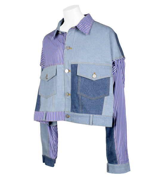 Patched Sleeve Denim Jacket