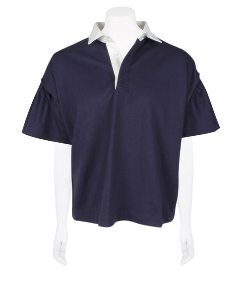 Draw-cord Crop Polo-shirt