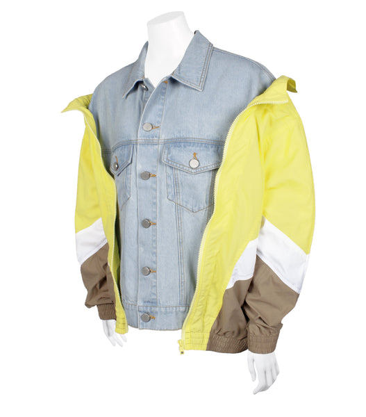 Colour-blocked Shell Denim Jacket