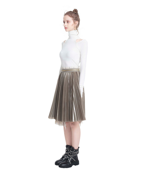 Panelled Pleated Tweed Skirt