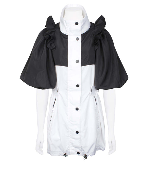 Two-Tone Windbreaker with Puff Sleeves