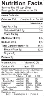 Samurai Cereal Nutritional Facts