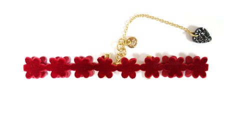 Red Velvet Flower Choker