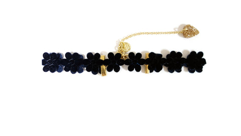 Black Velvet Flower Choker