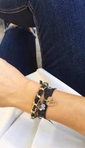 Black Denim Floral Bracelet