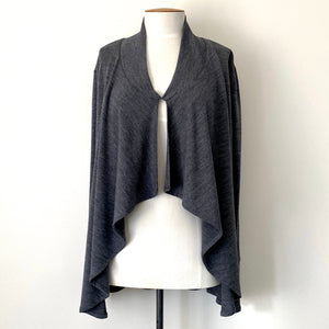 Marle grey merino cardigan with hook and eye front closure made in new zealand
