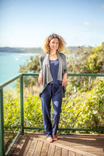 Load image into Gallery viewer, Made in New Zealand merino cardigan with long sleeves and wide drape hem.