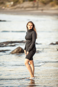 Elegant black merino dress with turtle neck and long sleeves