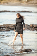 Load image into Gallery viewer, merino little black dress with long sleeves and turtle neck made in New Zealand