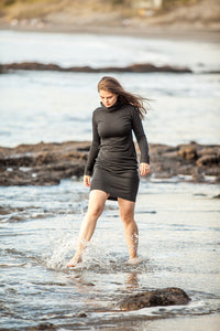 merino little black dress with long sleeves and turtle neck made in New Zealand