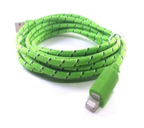 Set of 3 x 10ft 3M Long fabric neon coloured 8-pin lightning sync cable