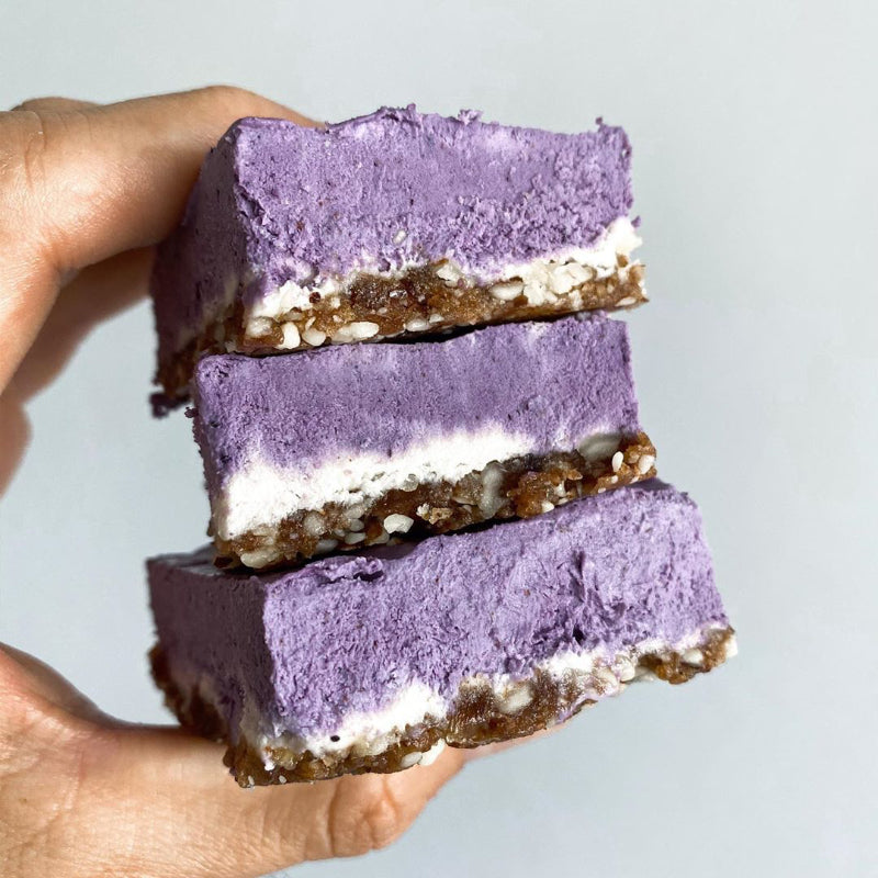 Raw Blueberry Lemon Cheesecake Bars