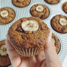 Banana Almond Butter Chocolate Chip Muffins