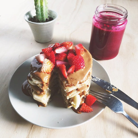 Vegan Strawberry and Banana Superfood Pancakes Recipe