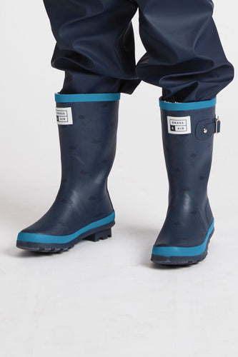 Older Kids Wellies - Navy & Turquoise