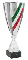 0119-3601 Julio Sr.- Laser cut Silver trophy cup with Mexican flag colors.