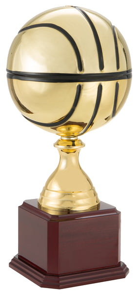 0119-4320 MJ - Gold and black metal basketball trophy with wood base