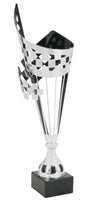 0119-4401 LH44 - Silver and black metal checkered flag.