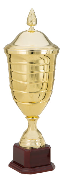 0119-5611 Manzè + - Gold trophy cup with lid attached on wood base