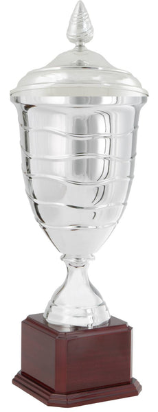 0119-5710 Lòlò + - Silver trophy cup with lid attached on wood base