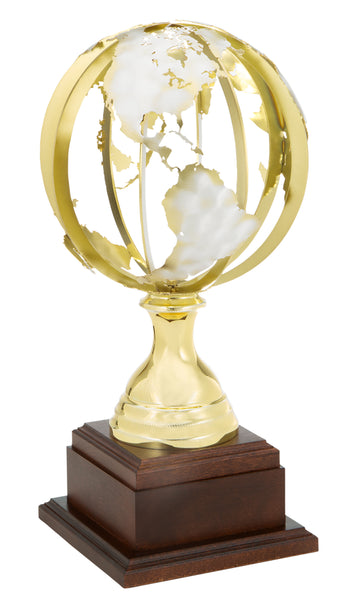 0119-5801 Atlas - Gold and silver world globe trophy cup on wood base