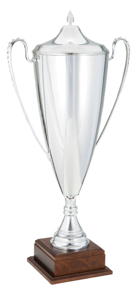0119-6412 Alcor + - Silver trophy cup with lid on wood base
