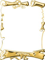 0619-0001 Gold and white embossed metal parchment plaque
