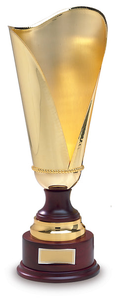 334 Sartor- Gold trophy cup on wood base