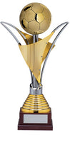 706-1 Sartor - Gold and silver soccer trophy with wood base.