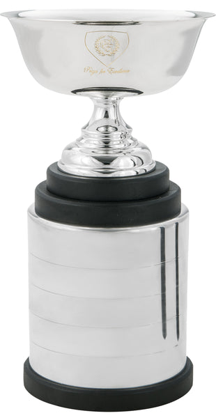 CF-550 Memorial Act 2 - Perpetual Silver trophy cup with 5 metal bands and wood base