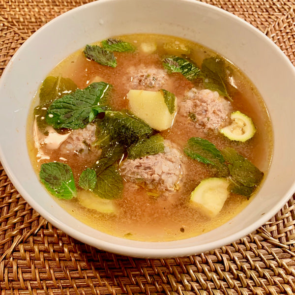 Grandma Josie's mint and meatball soup (Mexican albondiga soup)