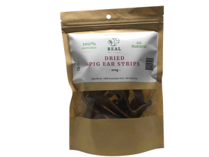Dried Pig Ear Strips 100gm