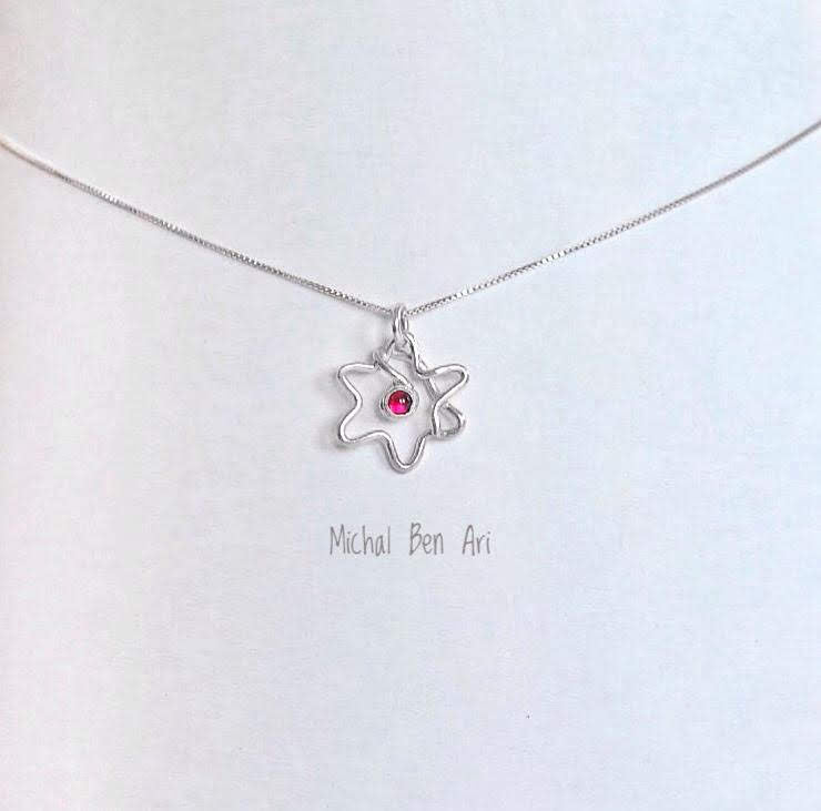 MBA Silver Star of David Single Wire with Garnet
