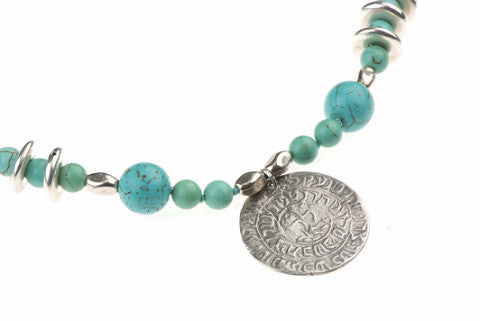Ana BeKo'ah Amulet - Name of 42 Letters, Silver Pendant Turquoise Beads 18th Century