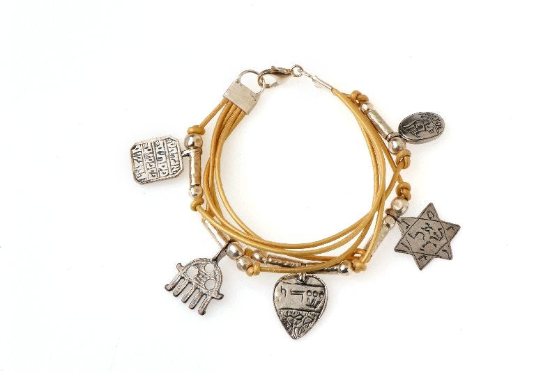 Kabbalah Protection Bracelet - 925 Silver, 5 Charms Golden Leather