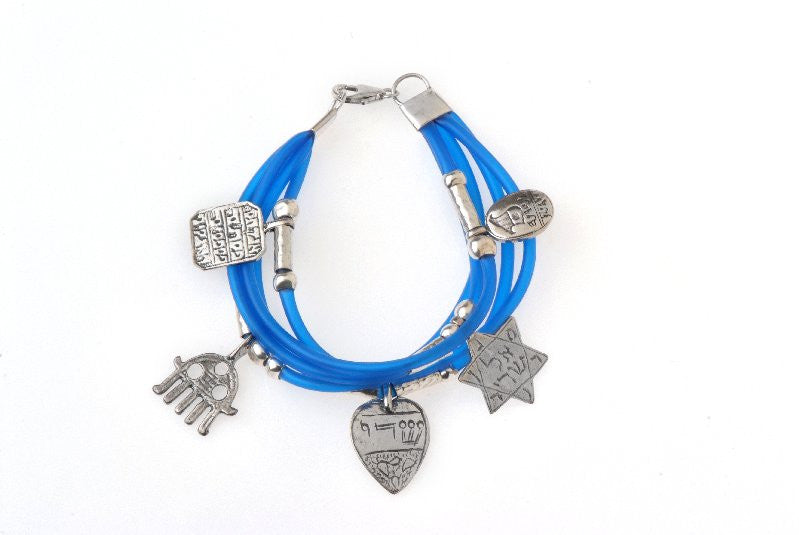 Kabbalah Protection Bracelet - 925 Silver, 5 Charms Blue Plastic
