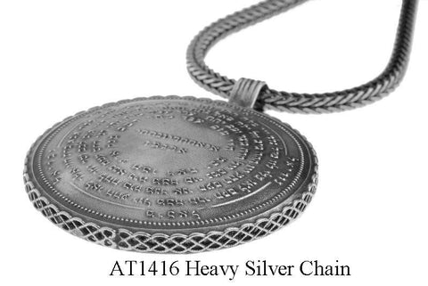 72 Names & Archangels 925 Silver Amulet - 55cm Extra Heavy Silver Chain