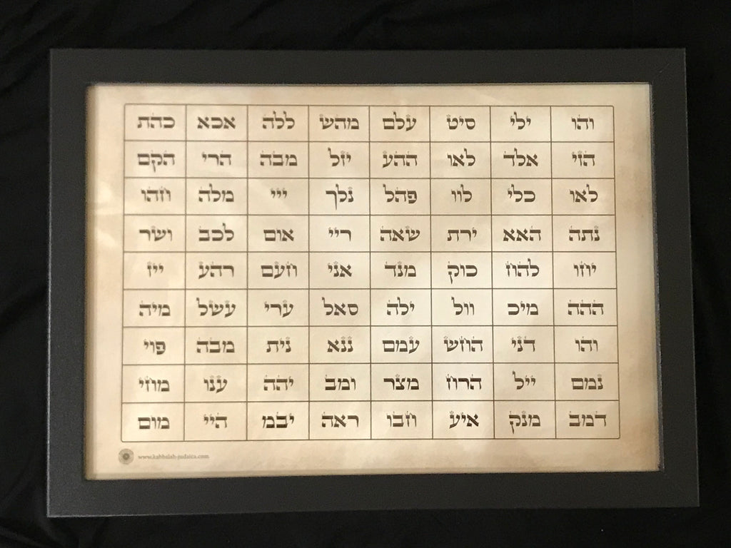 The 72 Names of God Amulet 21cm x 30cm Framed Print PARCHMENT Good Fortune, Bliss & Miracles