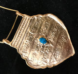 Ana BeKo'ah Amulet - Name of 42 Letters, GOLD PLATED with chain Turquoise Pendant. 18th Century