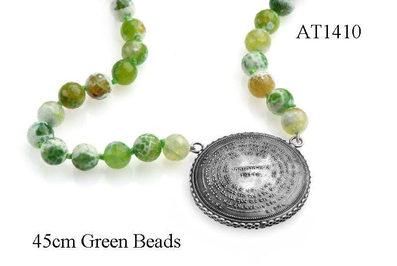 72 Names & Archangels 35gr 925 Silver Amulet - 45cm Green Beads