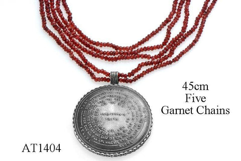 72 Names & Archangels 35gr 925 Silver Amulet - 45cm Five Garnet Chains