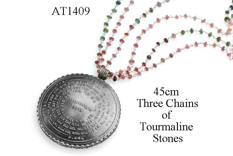 72 Names & Archangels 35gr 925 Silver Amulet - 45cm Three Chains of Colorful Tourmaline Stone