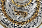 72 Names - Electroforming Silver Pendant, 24k Gold Plated Sections & Raw White Pearl Letters Pendant - Pei Hei Lamed פ.ה.ל