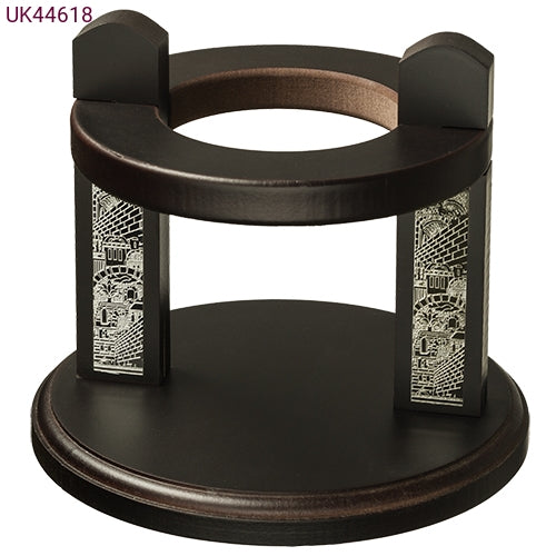 Wood and Silver Wine Stand 618