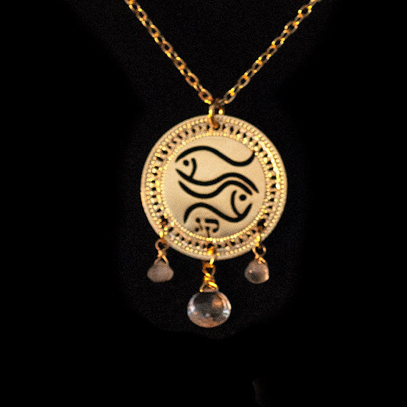 KP Gold Plated Zodiac Necklace Pisces with Aquamarine Birthstone
