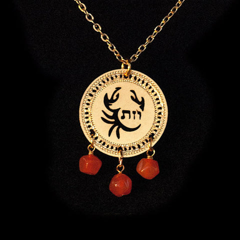 Zodiac Cancer Pendant - KP Gold Plated Necklace with Carnelian birthstone