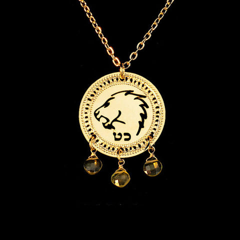 KP Gold Plated Zodiac Necklace Leo with Peridot birthstone