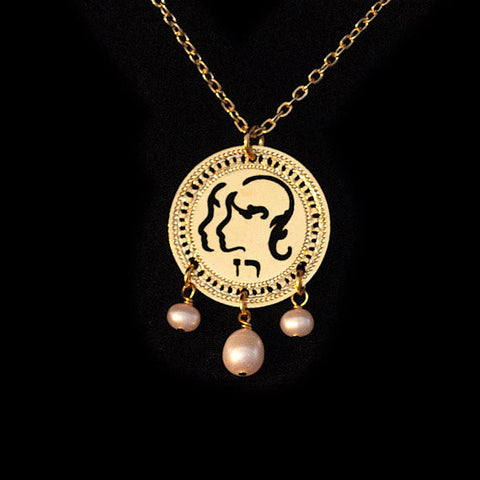 KP Gold Plated Zodiac Necklace Gemini Pearl Birthstone