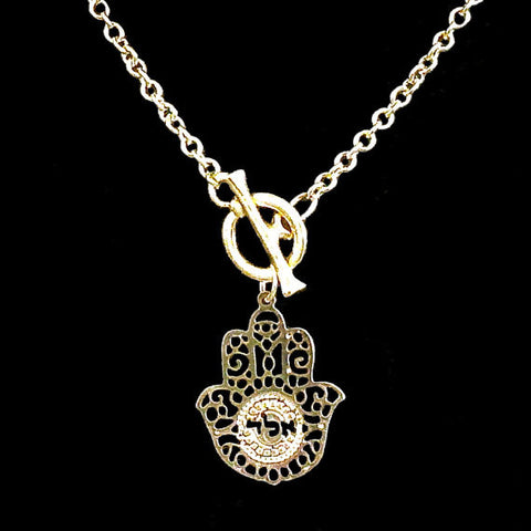 72 Names - KP Gold Plated Hamsa - Aleph-Lamed-Dalet - Protection Toggle Necklace