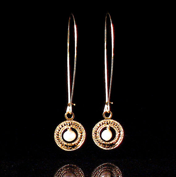 72 Names - KP Holy Name Gold Plated - Aleph-Lamed-Dalet - Protection - Long Earrings with Pearls